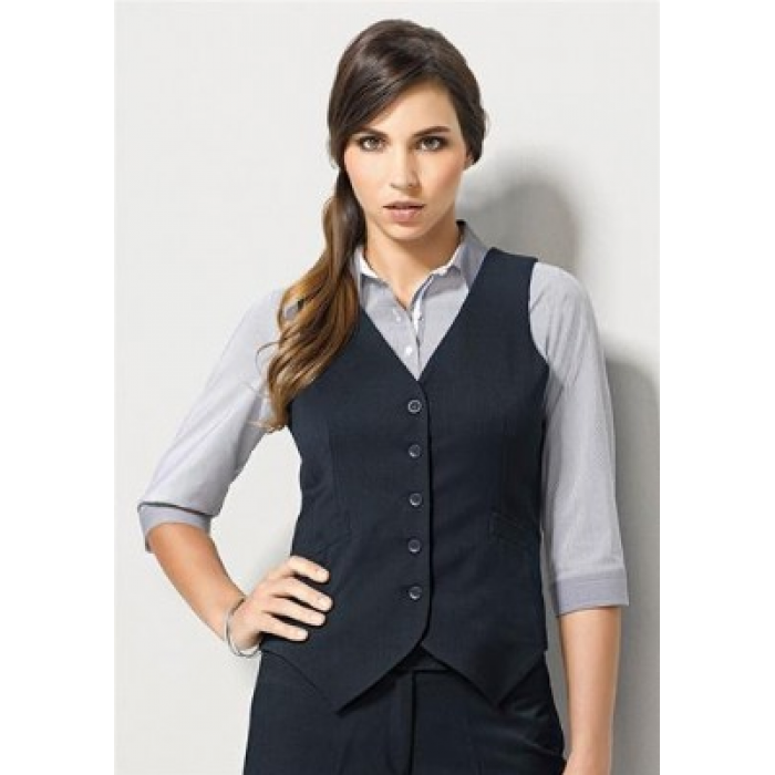 Cool Stretch Plain Peaked Vest - Ladies