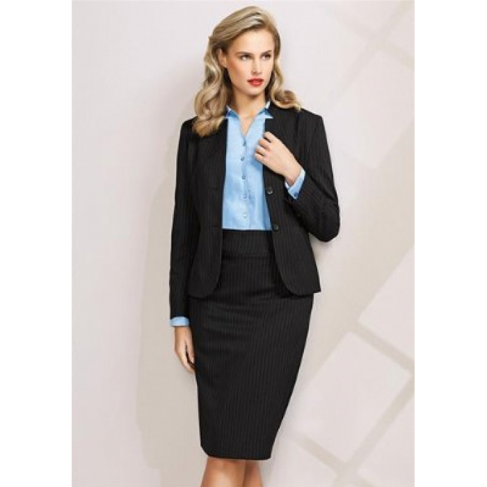 Pinstripe Short Jacket with Reverse Lapel - Ladies