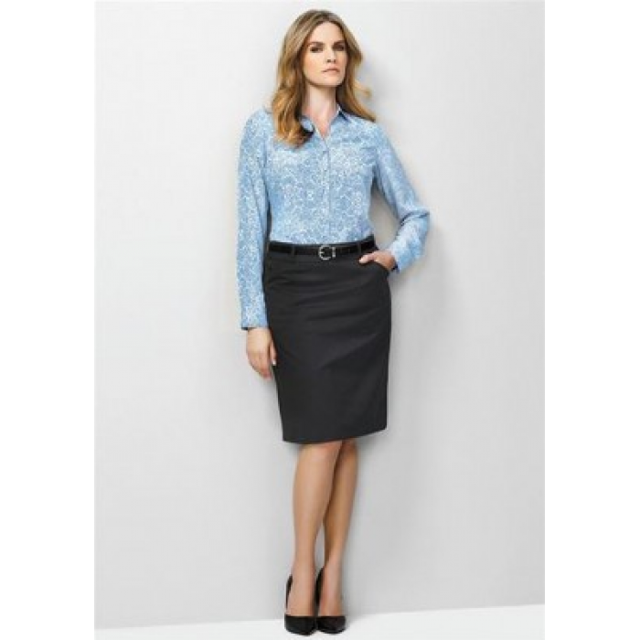 Cool Stretch Plain Waisted Pencil Skirt - Ladies