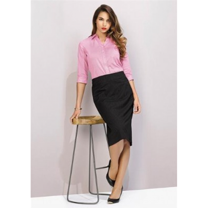 Pinstripe Relaxed Fit Lined Skirt - Ladies