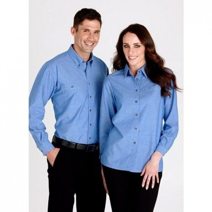 Wrinkle Free Chambray L/S Shirt - Ladies