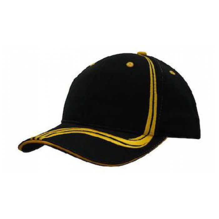 Brushed Heavy Cotton Cap - Waving Stripes on Crown & Peak