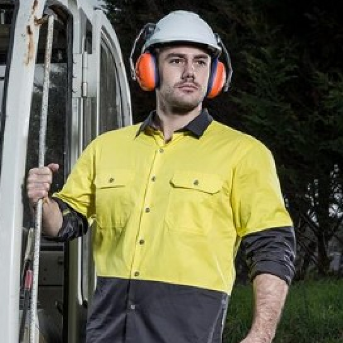 Hi Vis Spliced Industrial Shirt Day Only - Mens