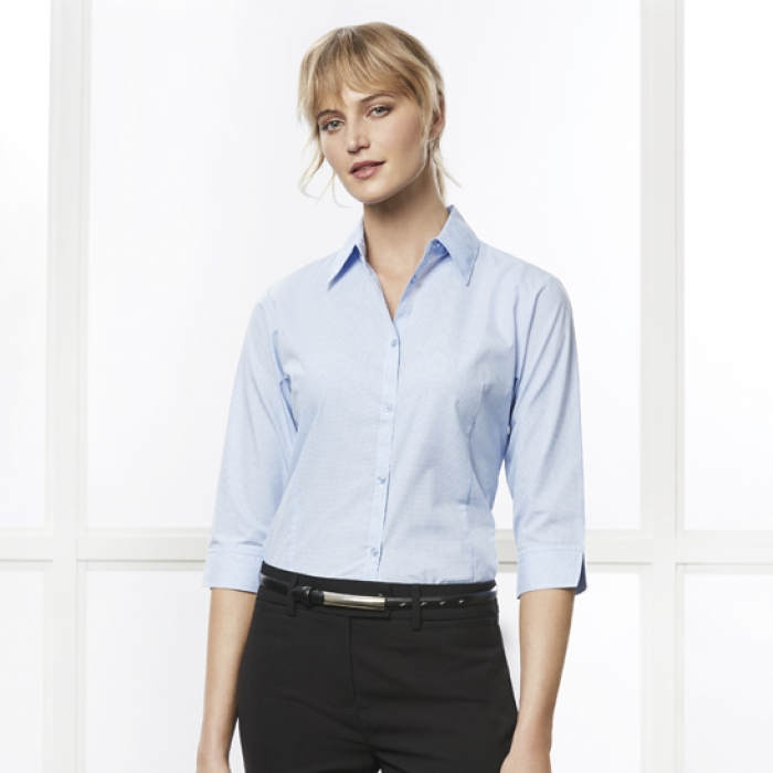 Ladies Micro Check 3/4 Shirt