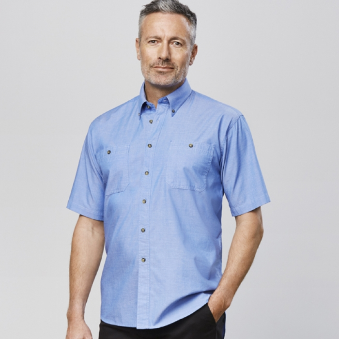 Wrinkle Free Chambray S/S Shirt - Mens